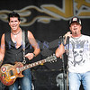 Chainsaw wielding Jackyl frontman Jesse James Dupree reprised his role from several years ago at the Chippewa Valley Rock Festival in Cadot, WI. Jeff Worley, lead guitar; Jesse james Dupree, vocals