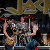 Chainsaw wielding Jackyl frontman Jesse James Dupree reprised his role from several years ago at the Chippewa Valley Rock Festival in Cadot, WI. Jeff Worley, lead guitar; Chris Worley, drums; Roman Glick, bass guitar