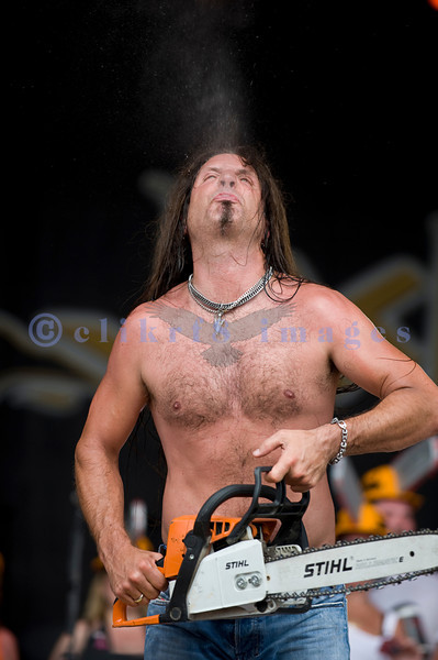 Chainsaw wielding Jackyl frontman Jesse James Dupree reprised his role from several years ago at the Chippewa Valley Rock Festival in Cadot, WI. Jesse James Dupree, vocals and Stihl chainsaw