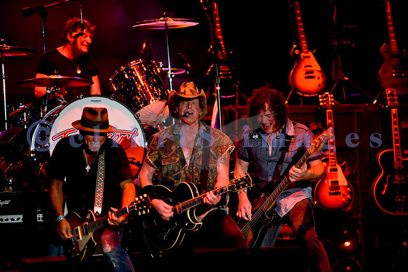 "Last minute replacement for Sunday's headliners Heart and Def Leppard, the Ted Nugent Band with its array of guitars as a backdrop showed that old rockers still rock. ""Wild"" Mick Brown, drums; Derek St. Holmes, guitar and vocals; Ted Nugent, guitar and vocals; Greg Smith, bass guitar"