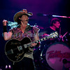 """Last minute replacement for Sunday's headliners Heart and Def Leppard, the Ted Nugent Band with its array of guitars as a backdrop showed that old rockers still rock. Ted Nugent, guitar and vocals; """"Wild"""" Mick Brown, drums"""