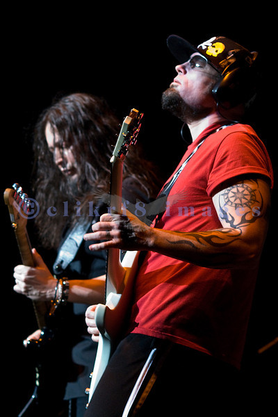 The homecoming show after a national tour for Queensryche at the Paramount Theater in Seattle on March 1, 2008: Mike Stone on guitar.
