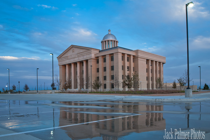 Rockwall, TX New County Courthouse after completion.  Manhattan Construction Project 2010/2011.   Reflection image after sunset.  Oct. 2011