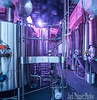 I shot this image at the Brewery window.. Someone passing by told me about the purple light and thought I may want to go to the side and shoot this view... Put my lens against the glass and it turned out OK.