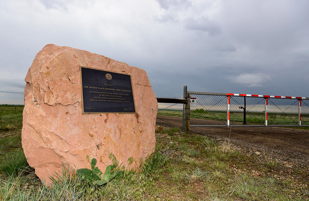 . A plaque dedicated to the Rocky Flats Workers and Community is seen at the Department of Energy boundary at the Rocky Flats National Wildlife Refuge in Jefferson County, Colorado on May 14, 2018. (Photo by Matthew Jonas/Staff Photographer)