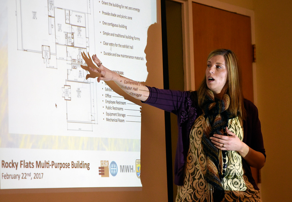 . Amy Scheckla-Cox, a project architect with OTAK, speaks about plans to concerned residents during a Rocky Flats sharing session on Wednesday  at the Broomfield Community Center. The session was held by the U.S. Fish and Wildlife Service and was about updated plans for opening the Rocky Flats Wildlife Refuge, now set for Spring 2018. For more photos of the Rocky Flats Refuge session go to www.dailycamera.com Jeremy Papasso/ Staff Photographer/ Feb. 22, 2017