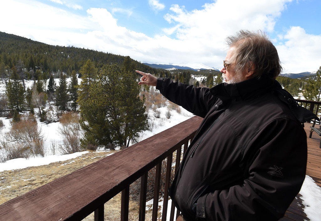 . David Loy  points out the St Vrain River during a tour of the property. Johann Robbins and associates are purchasing 180 acres of pristine land - and a structure or two - as a place for people to go unwind and connect in these  stressful times. Cliff Grassmick  Staff Photographer  February 9, 2017