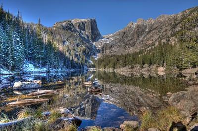 """Early Snow at Dream Lake"""