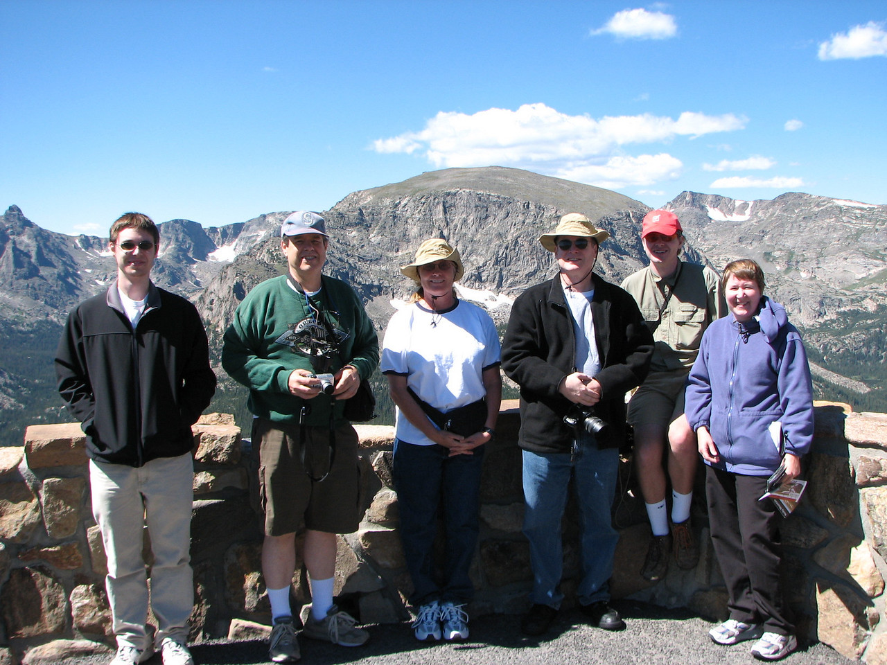 (L to R) Kevin, Martin, Connie, Richard, Nathan, Mary.  Forest Canyon Overlook on Trail Ridge Road, Rocky Mountain National Park.