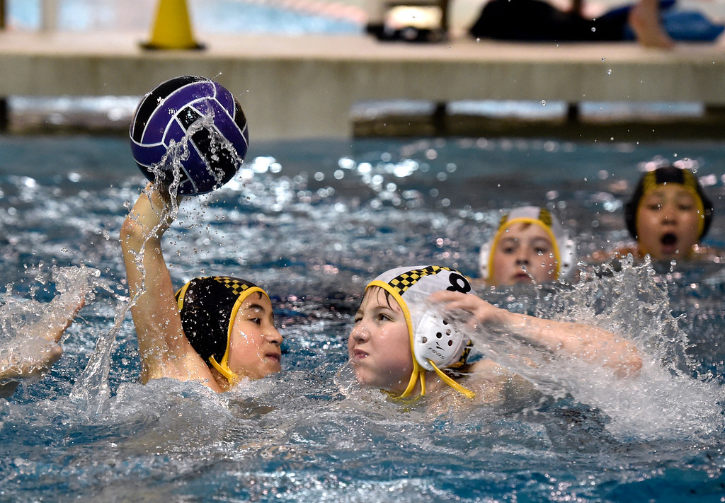 ". THORTON, CO - MARCH 6, 2019: Rocky Mountain Neptunes water polo players Rider ""Jet\"" Neeb, 10, left, and Logan Waldron, 11, fight for the ball during a practice on Wednesday night at the Veterans Aquatic Memorial Center in Thornton. For more photos of the practice go to dailycamera.com (Photo by Jeremy Papasso/Staff Photographer)"