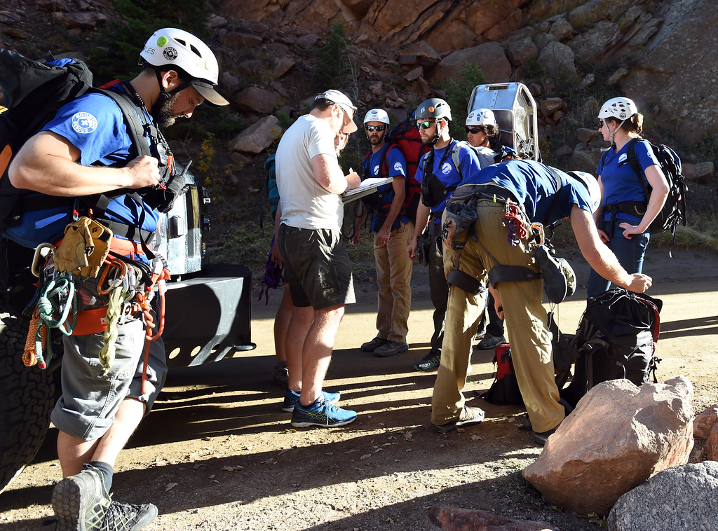 . Rocky Mountain Rescue climbers prepare to rescue a fallen climber in Eldorado Springs Canyon on Thursday Evening. Rocky Mountain Rescue  is celebrating 70 years of service. Cliff Grassmick  Staff Photographer October 12, 2017
