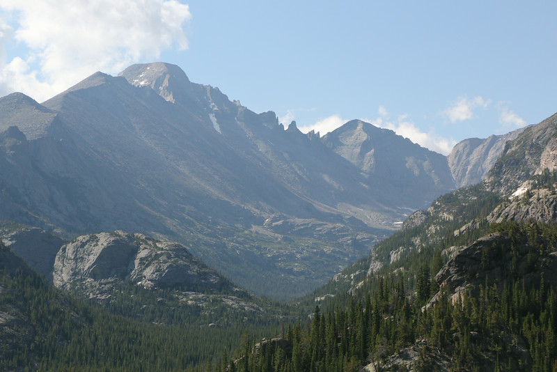 View of Longs Peak from trail-tallest mountain with flat top
