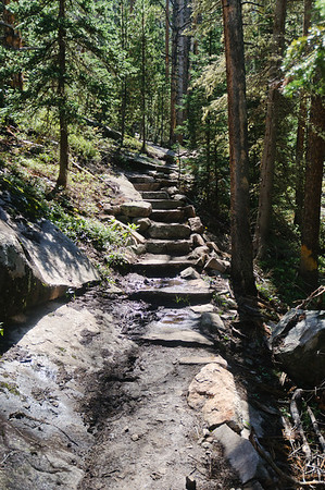 One of the many stairways along the trail to the upper lakes.  There are more than 250 stairs built along the trail.