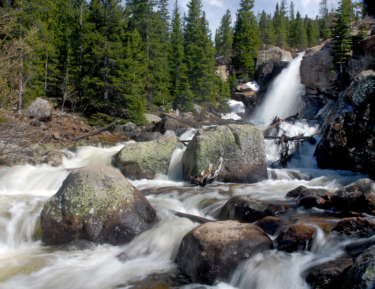 Alberta Falls roars with spring melt in early June.