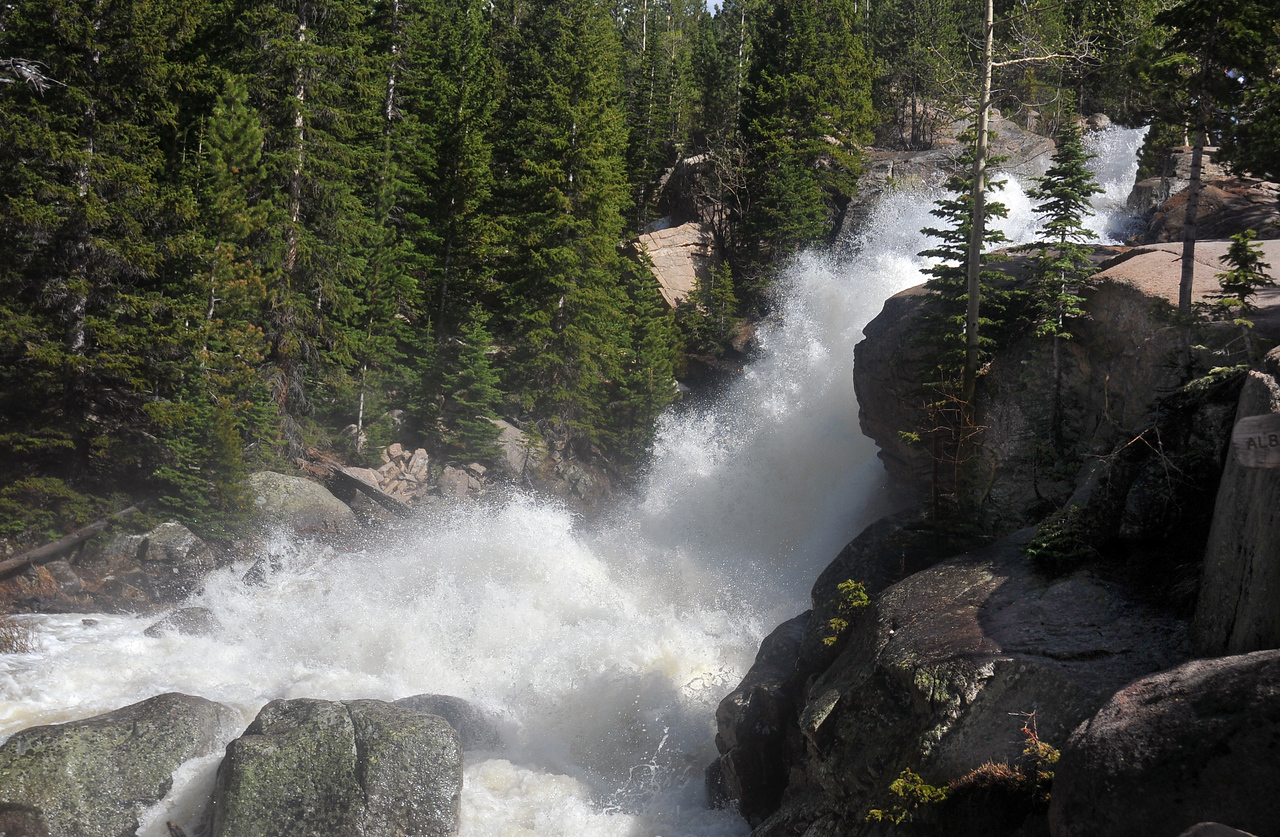 In late May winter's snows are rapidly melting causing Alberta Falls to roar with flood waters.