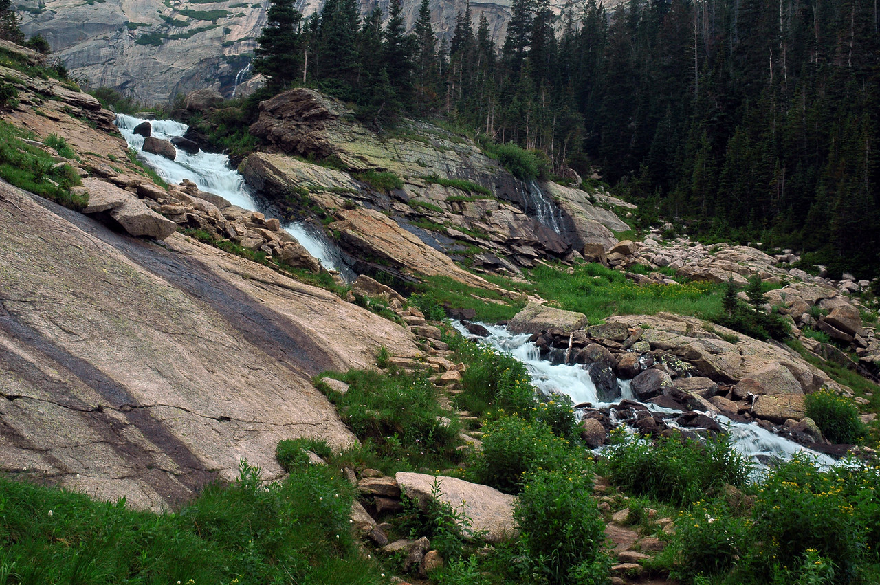 A cascade above Black Lake carrying waters to feed the lake.
