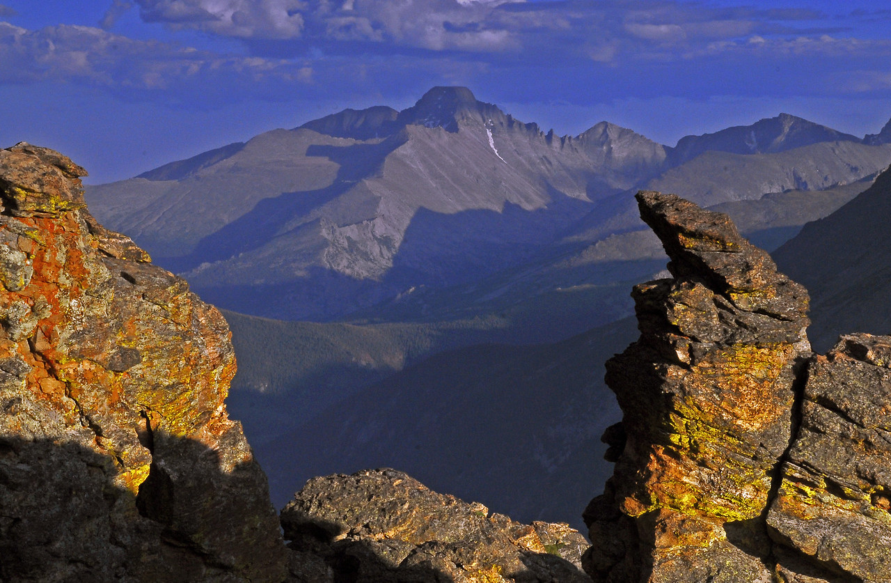 The last light of day strikes Rock Cut on Trail Ridge Road while Long's Peak looms in the background.