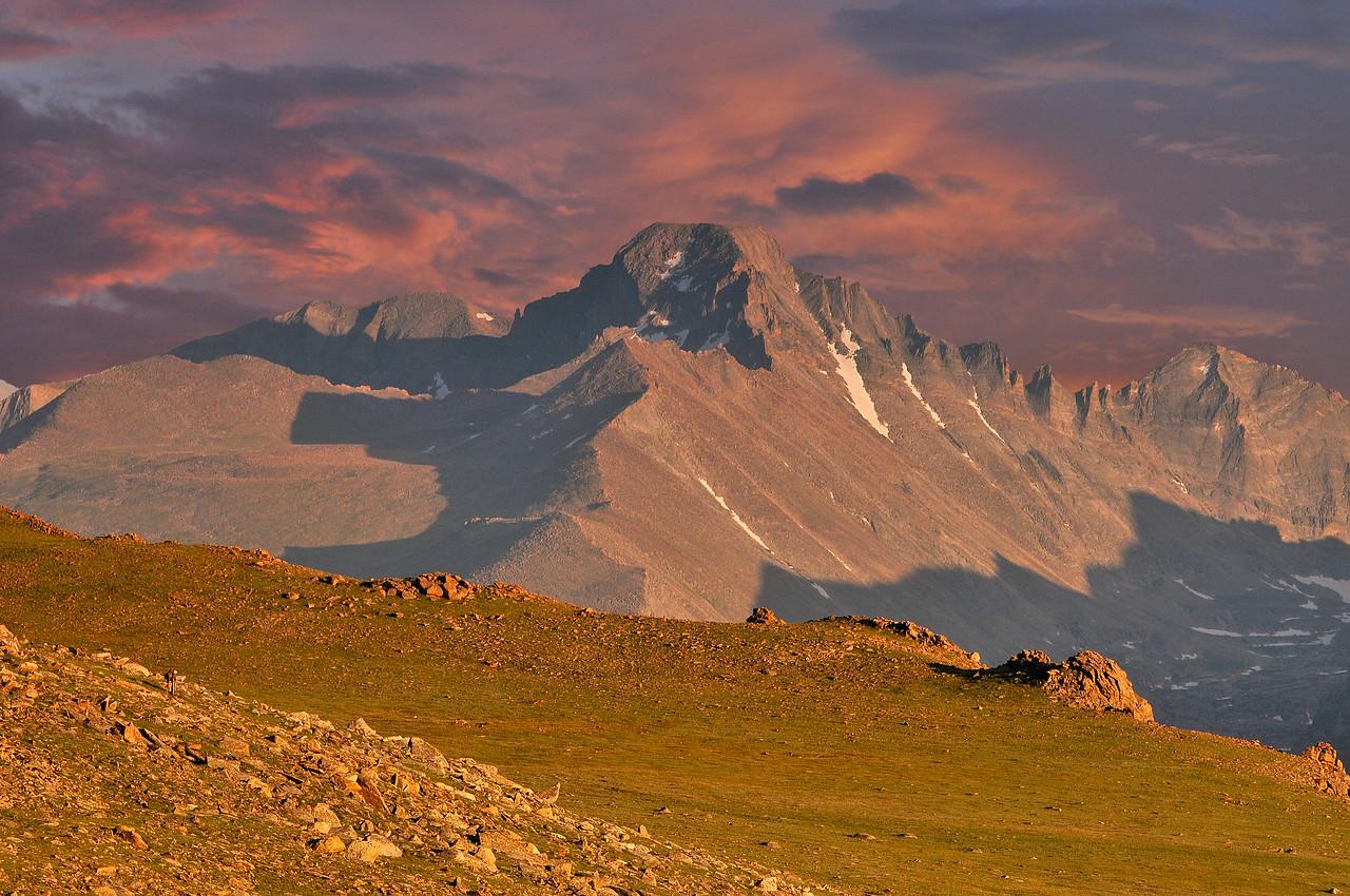 The last light of day burns mighty Long's Peak.