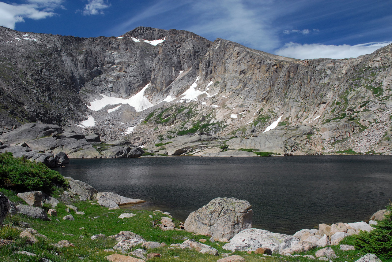 500 feet above Lawn Lake, Crystal Lake hangs in a glacier bowl in Rocky's NE corner.