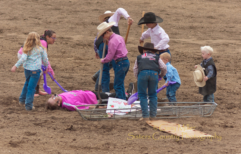 The last rites for J.J. Harrison, Rodeo Clown - Sisters Rodeo 2011 - Photo by Gary Miller - Sisters Country Photography