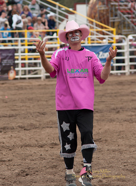 Rodeo Clown JJ Harrison - 2011 Sisters Rodeo, Sisters Oregon - Photographer Gary Miller - Sisters Country Photography