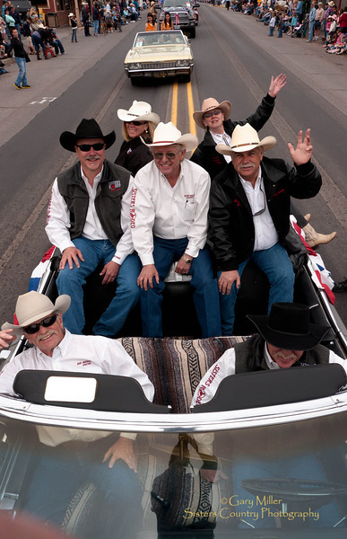 SRA Board of Directors members ride in Curt Kalburg's Classic Caddilac - Rodeo Parade 2011 - Sisters, Oregon - Photo by Gary Miller - Sisters Country Photography