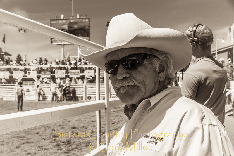 Rodeo Director Bob Buckmann - Sunday, a picture perfect day at the 2012 Sisters Rodeo -Sisters, Oregon - Gary N. Miller - Sisters Country Photography
