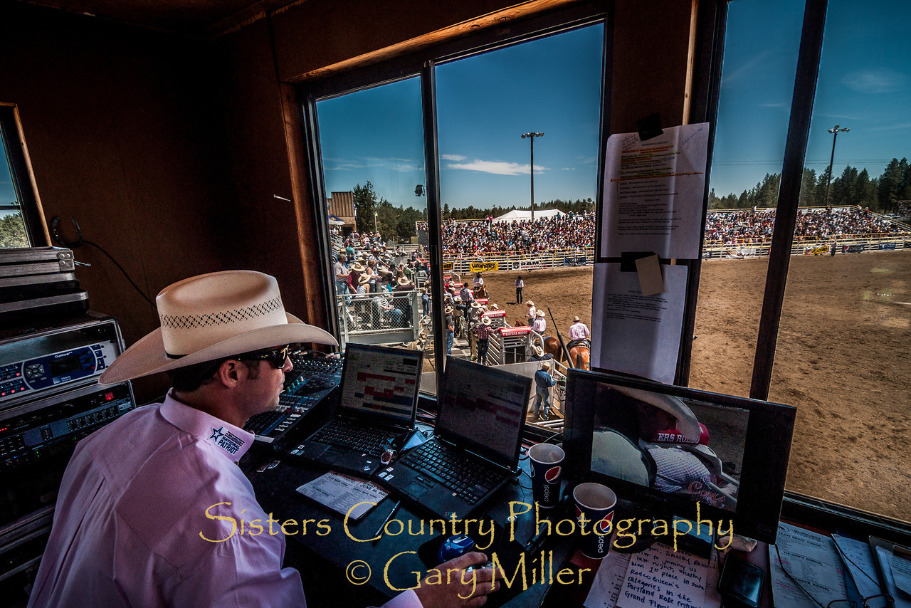 Mister Jason rocks the arena with just the right tunes on Sunday, a picture perfect day at the 2012 Sisters Rodeo -Sisters, Oregon - Gary N. Miller - Sisters Country Photography