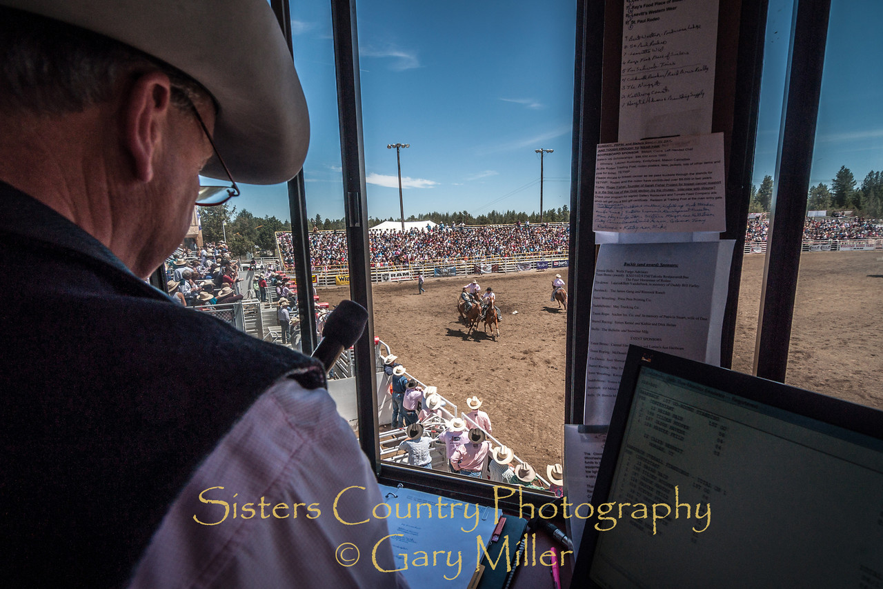 Curt Robinson, announcer and controller of the show on Sunday, a picture perfect day at the 2012 Sisters Rodeo -Sisters, Oregon - Gary N. Miller - Sisters Country Photography