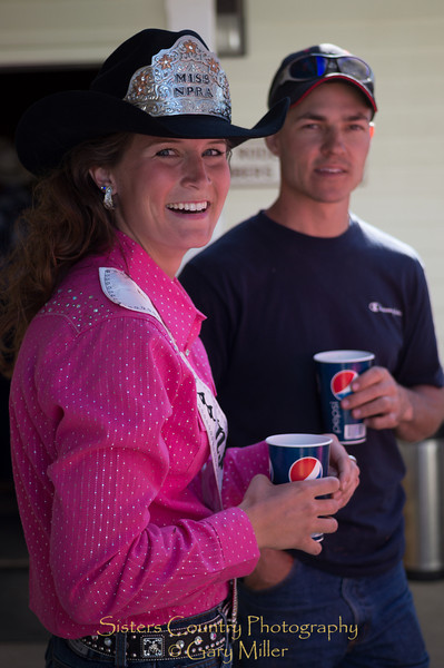Emily Clark, Miss NPRA, with Nate Suing on Sunday, a picture perfect day at the 2012 Sisters Rodeo -Sisters, Oregon - Gary N. Miller - Sisters Country Photography