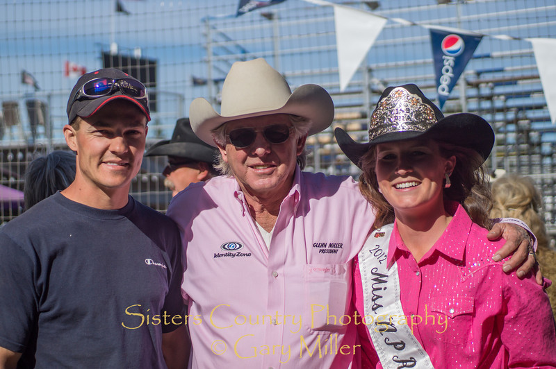 Emily Clark, Miss NPRA, with Nate Suing and Sisters Rodeo President and Grand Marshall G.J. Miller on Sunday, a picture perfect day at the 2012 Sisters Rodeo -Sisters, Oregon - Gary N. Miller - Sisters Country Photography