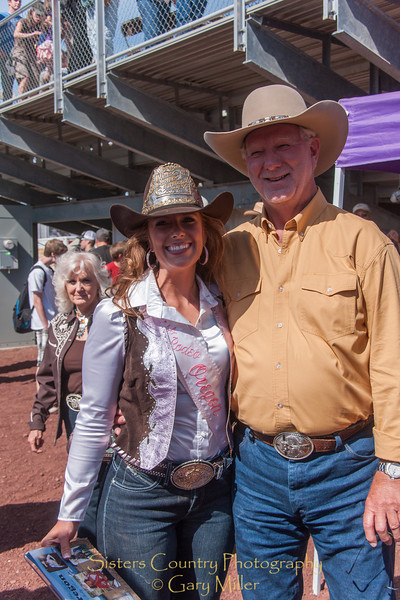 Miss Rodeo Oregon Shelby Ross with her master hatmaker Gene Baldwin - Sunday, a picture perfect day at the 2012 Sisters Rodeo -Sisters, Oregon - Gary N. Miller - Sisters Country Photography