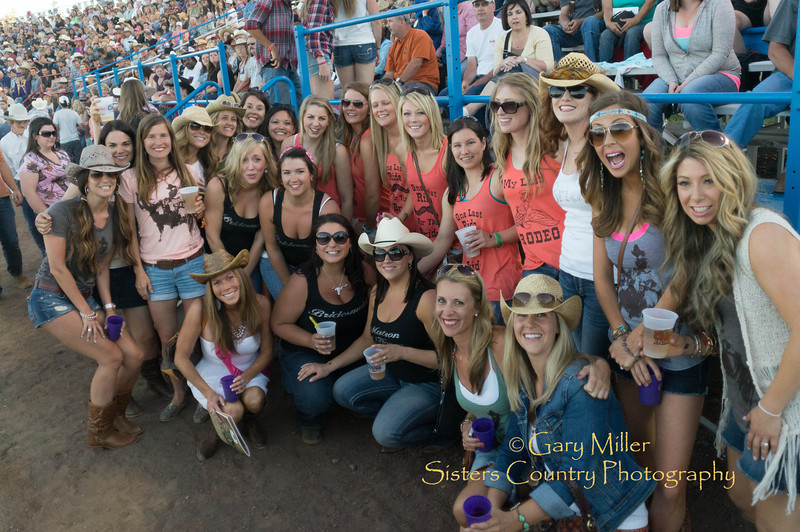 Bachelorettes galore. 3 different parties combine for a group photo at Saturday night's performance of the 2013 Sisters Rodeo - Sisters, Oregon - Copyright © 2013 Gary N. Miller, Sisters Country Photography
