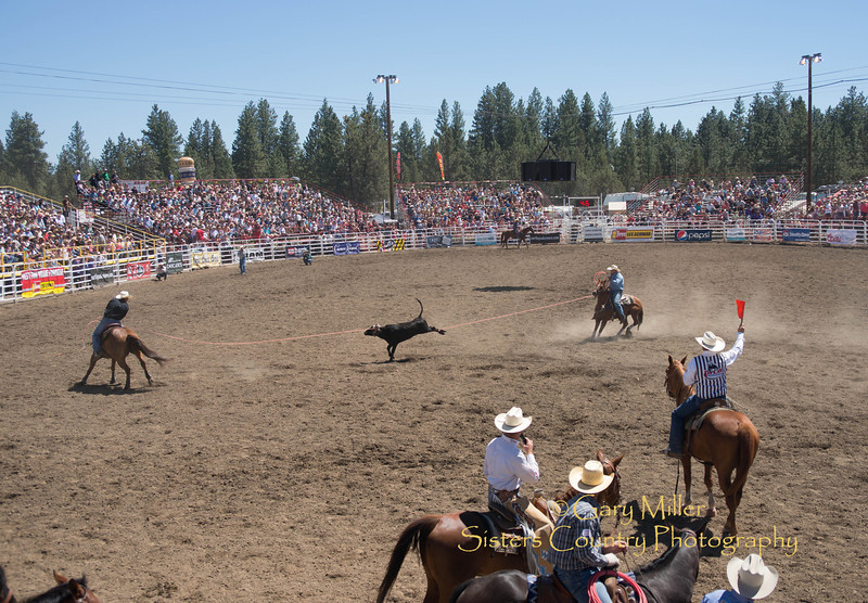 Brady Tryan and Cody Doescher took thrid place in Team Roping - Shown here during Saturday afternoon's performance of the 2013 Sisters Rodeo - Sisters, Oregon - Copyright © 2013 Gary N. Miller, Sisters Country Photography