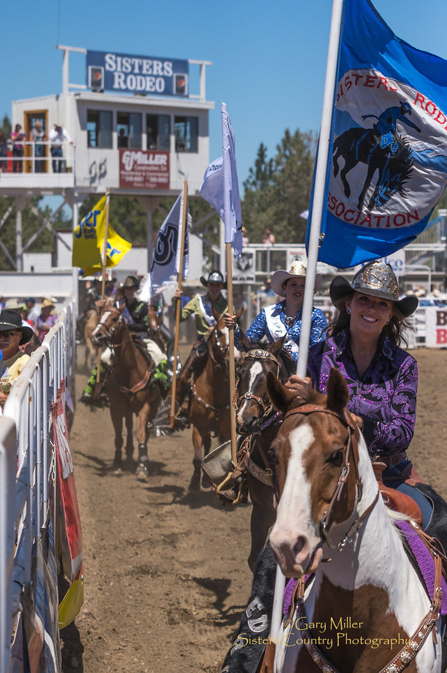 Queens of the Rodeo - Northwest Rodeo Queens and ambassadors ride the arena at Saturday afternoon's performance of the 2013 Sisters Rodeo - Sisters, Oregon - Copyright © 2013 Gary N. Miller, Sisters Country Photography