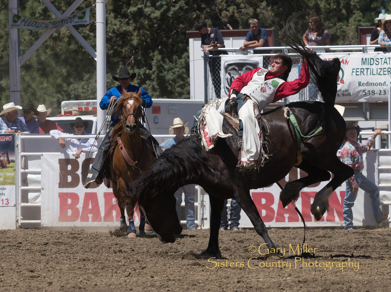 Caleb Bennett from Morman, Utah rides bareback at Saturday afternoon's performance of the 2013 Sisters Rodeo - Sisters, Oregon - Copyright © 2013 Gary N. Miller, Sisters Country Photography