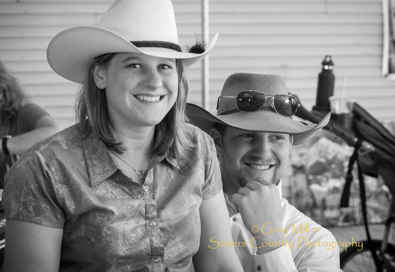 Ronda, Jenna Sneva and family pose for Gary N. Miller while eating lunch on Bronco Billy's deck after the 2013 Sisters Rodeo Parade - Sisters, Oregon - Copyright © 2013 Gary N. Miller, Sisters Country Photography