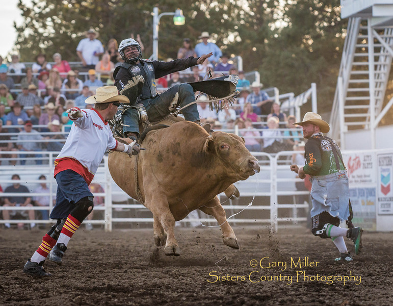 Rocky McDonald of Chihuaha Mexico riding on Wednesday, Bull Extravaganza night at the 2013 Sisters Rodeo - Sisters, Oregon - Copyright © 2013 Gary N. Miller, Sisters Country Photography