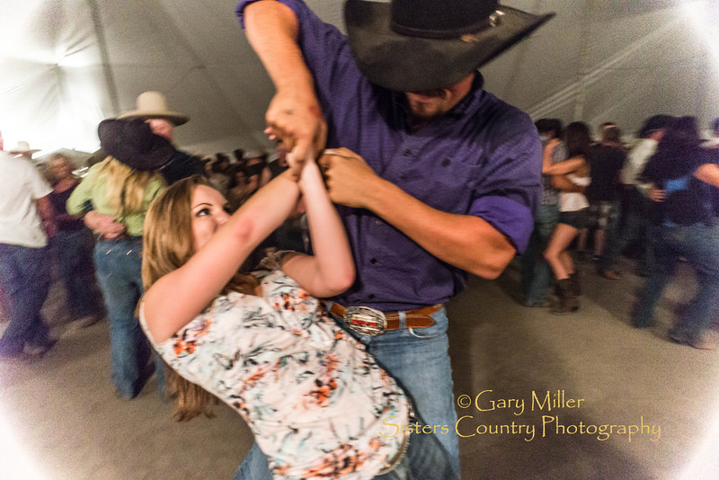 Rodeo Queen Sarah Marcus found a prince that knows how to dance - Westen swing dancing to a great band on the Sisters Rodeo Grounds after the Wednesday night Extreme Bull's Competition at the 2013 Sisters Rodeo - Copyright © 2013 Gary N. Miller, Sisters Country Photography