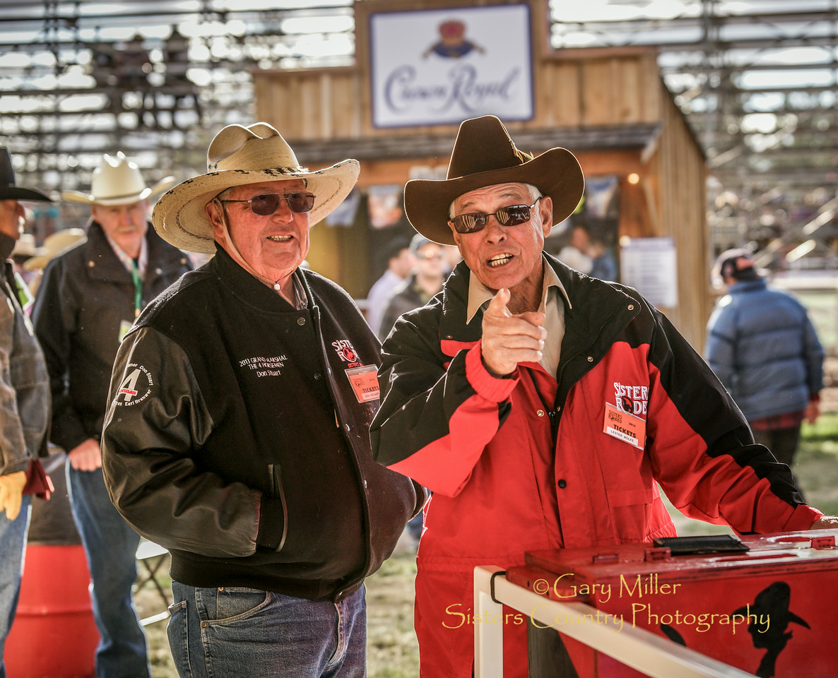 Don & Lester -- Keeping the riff-raff photographer out -- Friday night at the 2014 Sisters Rodeo - Sisters, Oregon © 2014 Gary N. Miller, Sisters Country Photography