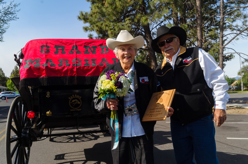 Dorro Sokol, Rodeo Grand Marshall & Rodeo Association Board Member Tom Crowder - 2014 Sisters Rodeo Parade in Sisters, Oregon © 2014 Gary N. Miller, Sisters Country Photography