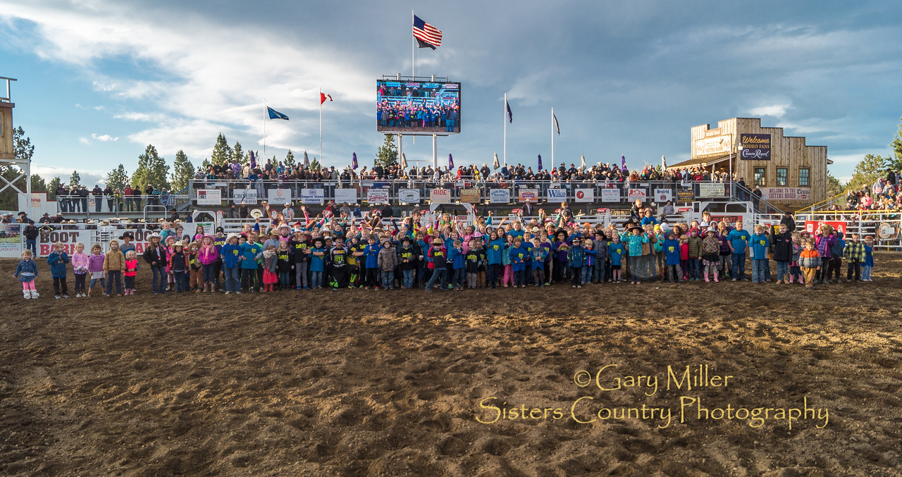 J.J. Harrison, Rodeo Clown extrodinaire, invited a few of his closest friends to join him inside the arena during the Friday Family Night performance of the 2016 Sisters Rodeo. © Gary N. Miller, Sisters Country Photography