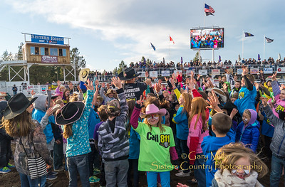 J.J. Harrison, Rodeo Clown extrodinaire, invited a few of his closest friends to join him inside the arena during the Friday Family Night performance of the 2016 Sisters Rodeo.Friday Night Performance at the 2016 Sisters Rodeo © Gary N. Miller, Sisters Country Photography