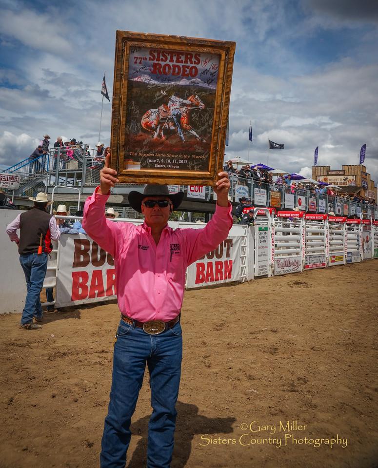 Rodeo Clown JJ Harrison congratulates Bill Willitts