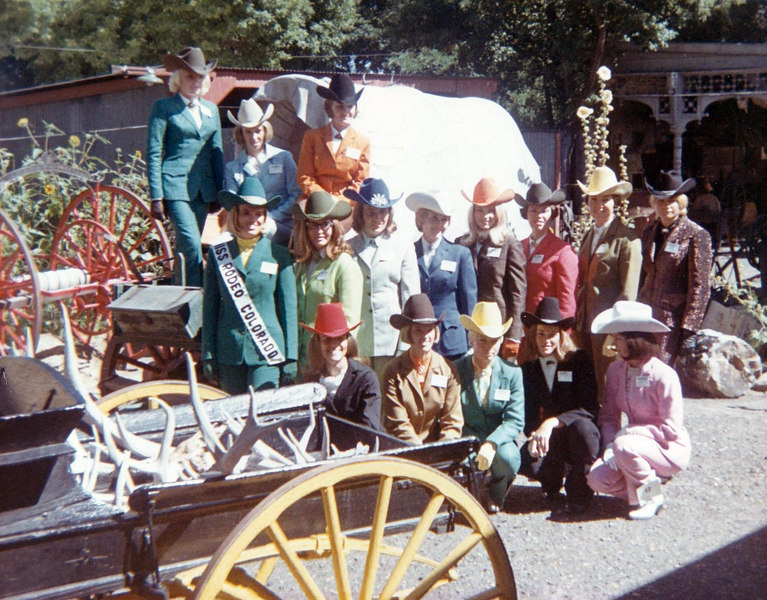 Miss Rodeo Colorado contest - 1968, Trinidad, Colorado.  Marvel is 3 on right sitting on wagon.  She placed 3rd in horsemanship, 5th in fashion show, and 5th overall.  Kathy won, 1st on left on wagon.