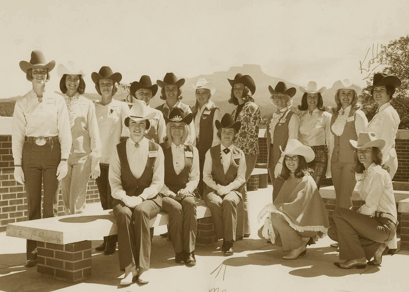 Miss Rodeo Colorado contest - Trinadad, CO.  Marvel front, 3rd from left or right.  Placed 5th, 3rd in Horsemanship.  Winner, Kathy back, 2nd from right.