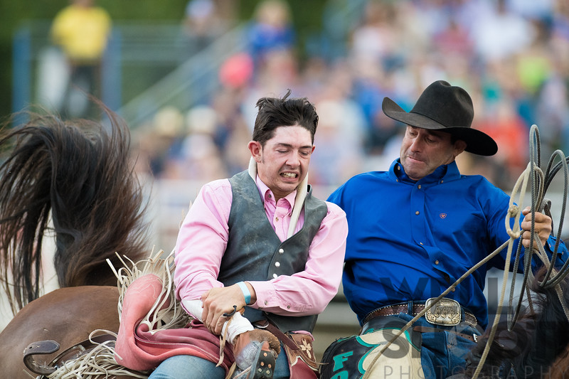 Rider's hand got stuck? 27th Annual PRCA Eugene Pro Rodeo July 04, 2018 Eugene, OR.