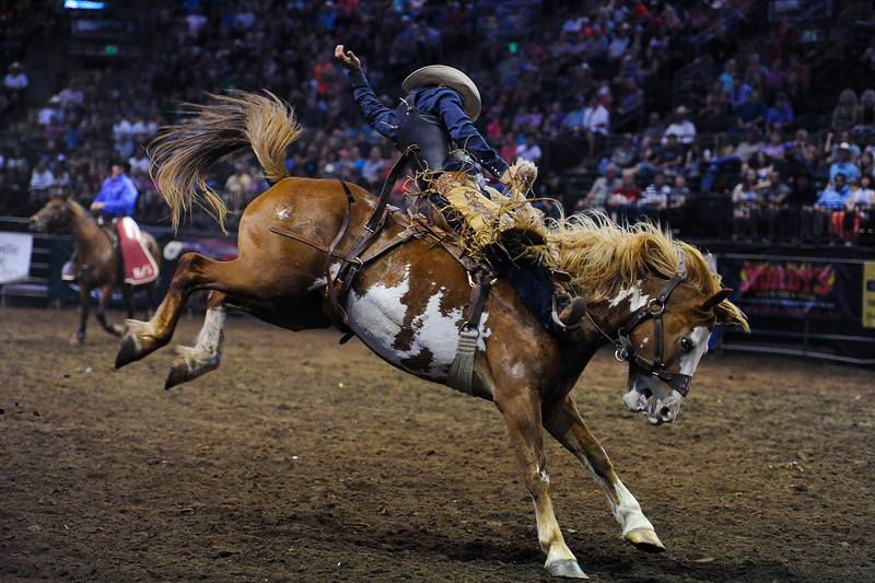 Jesse James Kirby rides during the Horse Riding event at the Larimer County Fair in Loveland on Aug. 8, 2016. Kirby won the event with a score of 84 points. <br /> <br /> Photo by Michael Ortiz/Loveland Reporter-Herald