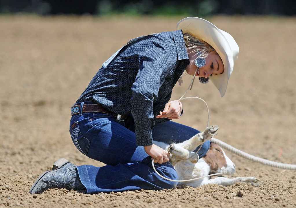 Saije Pollard meticulously ties her goat during the Sheridan County high school rodeo on Sunday, May 28 at the Sheridan County Fairgrounds. Mike Pruden | The Sheridan Press