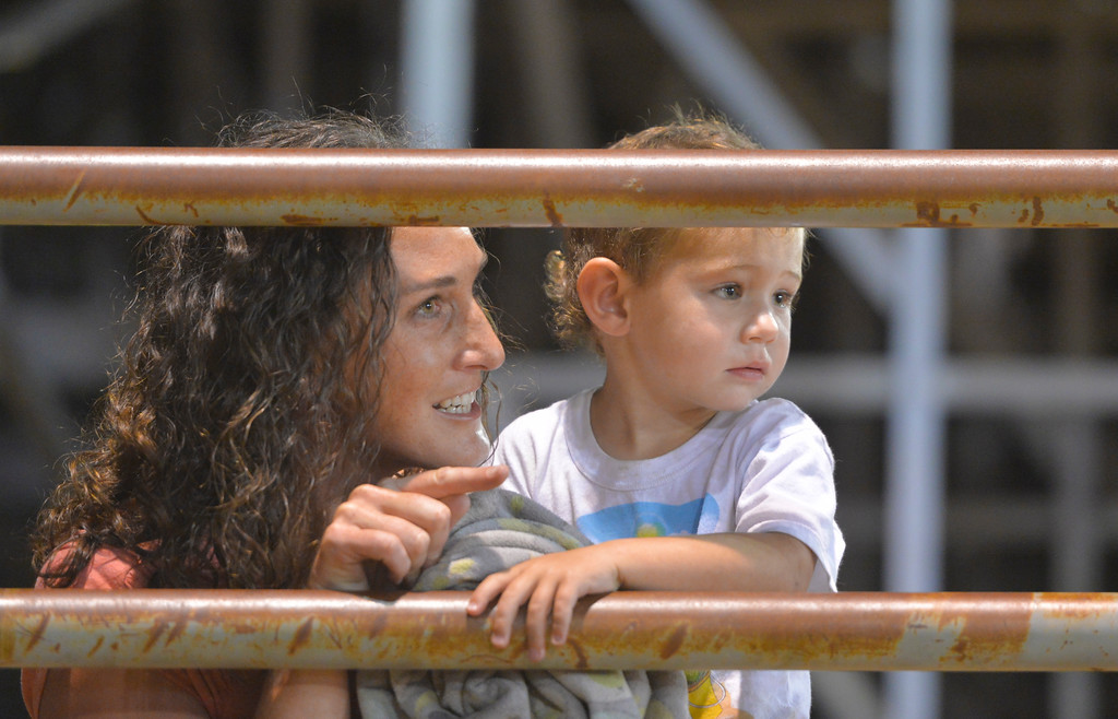 Justin Sheely | The Sheridan Press<br /> Molly Flint points out the bull riders to her son Boone Flint, 2, behind the bucking chutes during the Sheridan WYO Rodeo Saturday at the Sheridan County Fairgrounds.